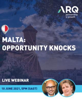 ARQ hosts residency & citizenship webinar with speakers Merle Whale (MaltaLifestyle) & Mr. Charles Mizzi (CEO, Residency Malta Agency)